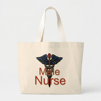 Männliche Krankenschwester mit Caduceus Jumbo Stoffbeutel