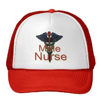 Männliche Krankenschwester mit Caduceus Netzmütze