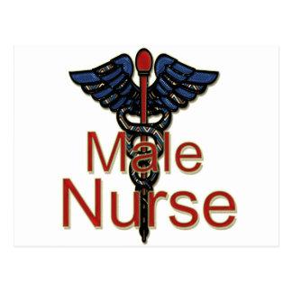 Männliche Krankenschwester mit Caduceus Postkarten