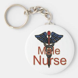 Männliche Krankenschwester mit Caduceus Standard Runder Schlüsselanhänger