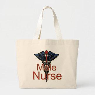 Männliche Krankenschwester mit Caduceus Leinentaschen