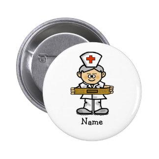 Männliche Krankenschwester mit grauem Haar-Knopf f Button