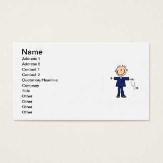 Männliche Strichmännchen-Krankenschwester - Blau Visitenkarte