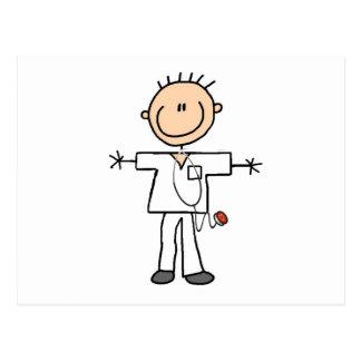 Männliche Strichmännchen-Krankenschwester Postkarte