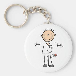 Männliche Strichmännchen-Krankenschwester Standard Runder Schlüsselanhänger