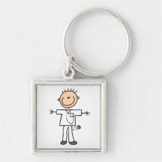 Männliche Strichmännchen-Krankenschwester-T-Shirts Silberfarbener Quadratischer Schlüsselanhänger