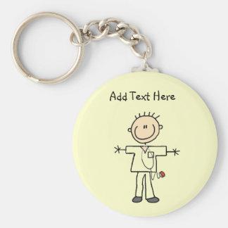 Männliche Strichmännchen-Krankenschwester-T-Shirts Standard Runder Schlüsselanhänger