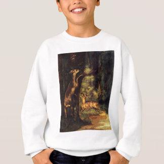 Männliche und weibliche Rotwild im Holz durch Sweatshirt
