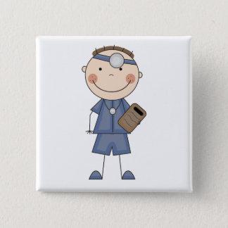 Männlicher Doktor T-shirts und Geschenke Quadratischer Button 5,1 Cm