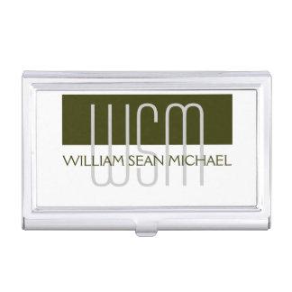 Männlicher mit Monogramm grüner weißer Männer Visitenkarten-Schatullen