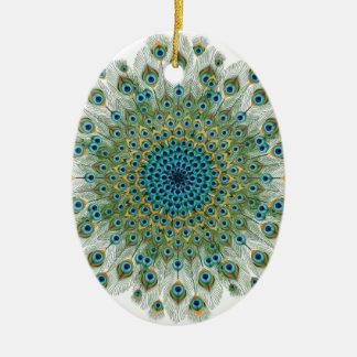 Männlicher Pfau-bunte Mandala Keramik Ornament