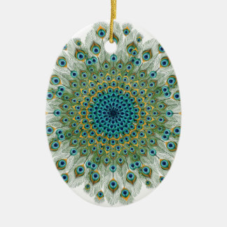 Männlicher Pfau-bunte Mandala Ovales Keramik Ornament
