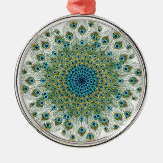 Männlicher Pfau-bunte Mandala Silbernes Ornament