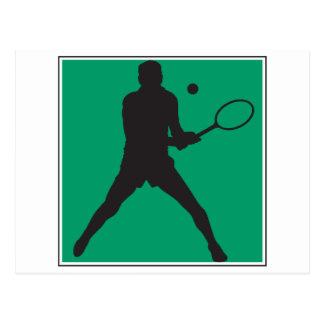 männlicher Tennisspieler-Silhouetteentwurf Postkarte