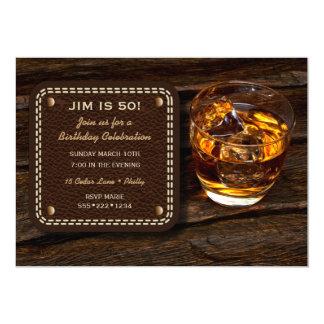 Männlicher Whisky-schottisches hölzernes Leder 12,7 X 17,8 Cm Einladungskarte