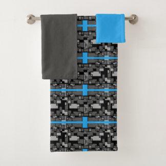 Männliches graues abstraktes geometrisches badhandtuch set