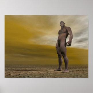 Männliches homo erectus - 3D übertragen Poster