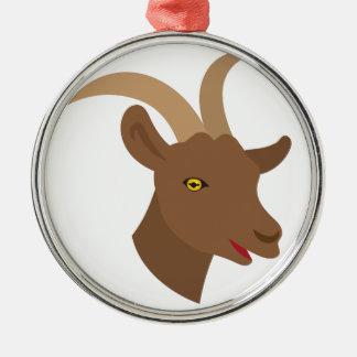 männliches niedliches Ziegengesicht Rundes Silberfarbenes Ornament