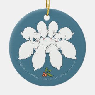 Manx ein-Melken acht… Weihnachtsbaum Keramik Ornament
