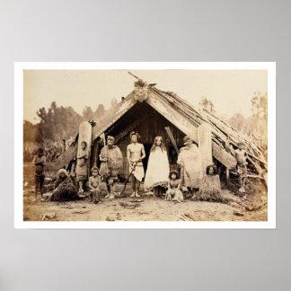Maori- Familie, Neuseeland, c.1880s (Albumendruck) Poster
