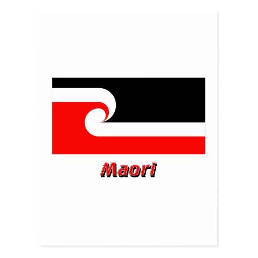 Maori- Flagge mit Namen Postkarte
