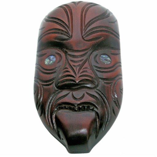 Maori- geschnitzte Maske Fotofigur