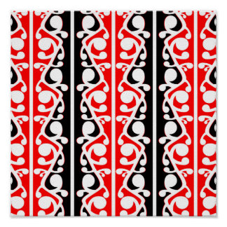 Maori- Kowhaiwhai traditionelles Muster Poster