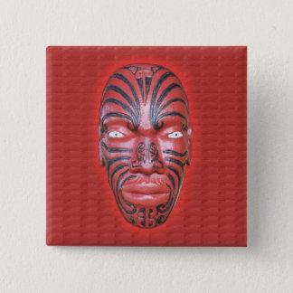 Maori- Kriegs-Kanu-Repräsentationsfigur - Knopf Quadratischer Button 5,1 Cm