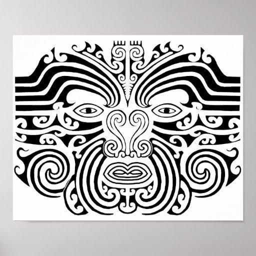 Maori stammes tätowierungsgrafik posterdruck