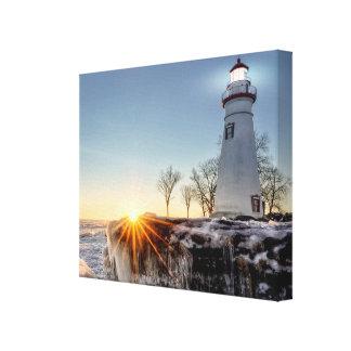 Marblehead Leuchtturm-Winter-Sonnenaufgang Leinwanddruck