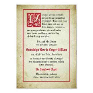 Märchen-Hochzeits-Eltern der Storybook-Seiten-  12,7 X 17,8 Cm Einladungskarte