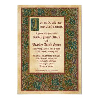 Märchen-mittelalterliche belichtetes 12,7 x 17,8 cm einladungskarte
