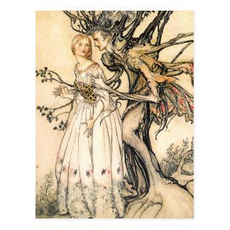 Märchen-Prinzessin-und Baum-Elf-Postkarte Postkarte