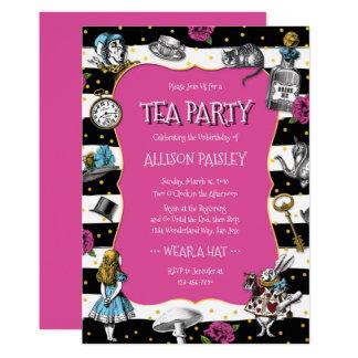 Märchenland-Tee-Party-heißes Rosa Karte
