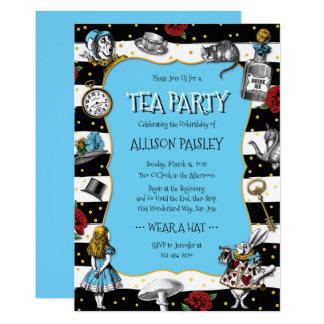 Märchenland-Tee-Party-wunderliches Blau Karte