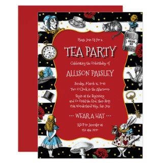 Märchenland-Tee-Party-wunderliches Rot 12,7 X 17,8 Cm Einladungskarte