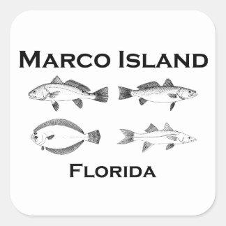 Marco Insel-Salzwasserfische Quadratischer Aufkleber