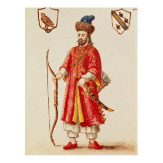 Marco Polo kleidete im Weinsteinkostüm an Postkarte
