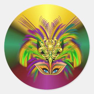 Mardi-Gras-Maske-D-Königin Runder Aufkleber