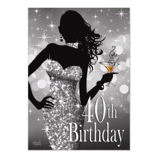 Margie Bling Silber Geburtstages | des Schein-40. 12,7 X 17,8 Cm Einladungskarte