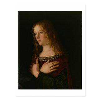 Maria Magdalena, Detail von der Jungfrau und vom Postkarte