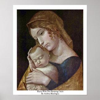 Maria mit dem schlafenden Kind durch Andrea Manteg Poster