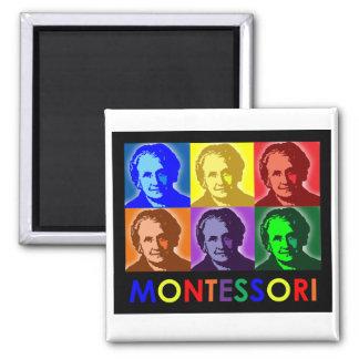 Maria Montessori-Pop-Art-Magnet Quadratischer Magnet
