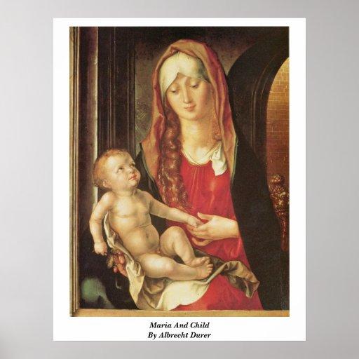 Maria und Kind durch Albrecht Durer Posterdruck
