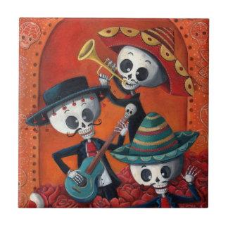 Mariachi-Trio Dia de Los Muertos Skeleton Fliese