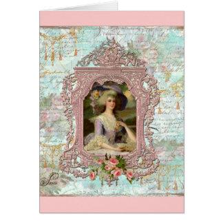 Marie Antoinette im rosa Rahmen Karten