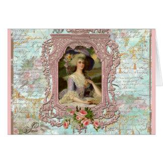 Marie Antoinette im rosa Rahmen Grußkarten
