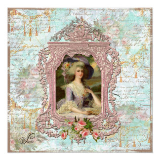 Marie Antoinette u. rosa Rosen Einladungskarten