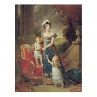 Marie-Caroline de Bourbon mit ihren Kindern Postkarte