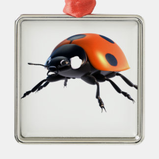 Marienkäfer, abgeschieden, glänzend, nützlich, quadratisches silberfarbenes ornament
